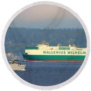 Puget Sound Shipping Waterway Round Beach Towel