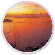 Puget Sound Sunset Round Beach Towel