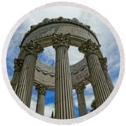 Pulgas Water Temple Round Beach Towel