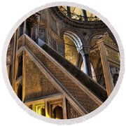 Pulpit In The Aya Sofia Museum In Istanbul  Round Beach Towel by David Smith