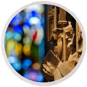 Pulpit Trinity Cathedral Pittsburgh Round Beach Towel