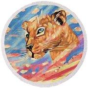 Puma On Watch Round Beach Towel