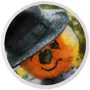 Pumpkin Face Photo Art 06 Round Beach Towel