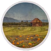Pumpkin Field Moon Shack Round Beach Towel