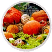 Pumpkin Harvest Round Beach Towel by Karen Wiles