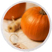 Pumpkin Label Round Beach Towel