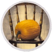 Pumpkin On Chair Round Beach Towel
