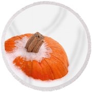 Pumpkin On Ice Round Beach Towel