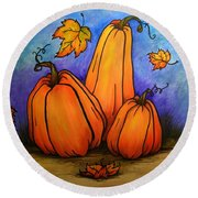 Pumpkin Trio Round Beach Towel