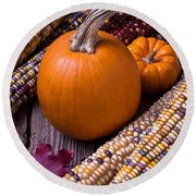 Pumpkins And Corn Round Beach Towel