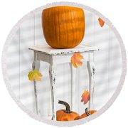 Pumpkins For Thanksgiving Round Beach Towel