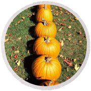 Pumpkins In A Row Round Beach Towel