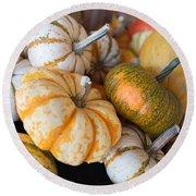 Pumpkins On Pumpkin Patch Round Beach Towel