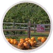 Pumpkins On The Farm Round Beach Towel