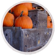 Pumpkins On The Wagon Round Beach Towel by Kerri Mortenson