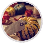Pumpkins With Label Round Beach Towel