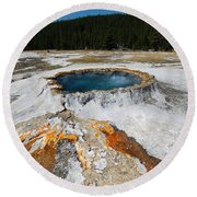 Punch Bowl Spring In Yellowstone Round Beach Towel