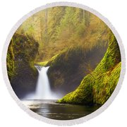 Punchbowl Pano Round Beach Towel