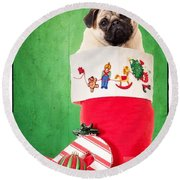 Puppy For Christmas Round Beach Towel