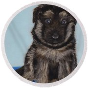 Puppy - German Shepherd Round Beach Towel