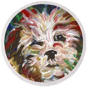 Puppy Spirit 101 Round Beach Towel