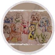 Pups  Round Beach Towel