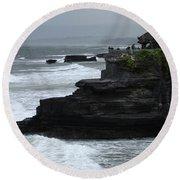 Pura Tanah Lot Bali Indonesia Round Beach Towel
