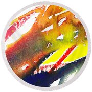 Pure Color Inspiration Abstract Painting Linea Forces Round Beach Towel