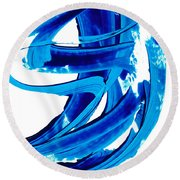 Pure Water 304 - Blue Abstract Art By Sharon Cummings Round Beach Towel