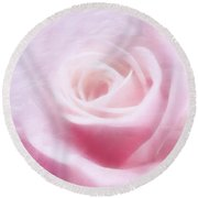 Purity And The Pink Rose Round Beach Towel