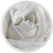 Purity Of A White Rose Flower Round Beach Towel