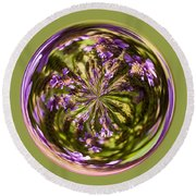 Purpble Wildflower Orb Round Beach Towel