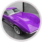 Purple 1968 Corvette C3 From Above Round Beach Towel