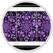 Purple Abstract Flower Garden - Kaleidoscope - Triptych Round Beach Towel