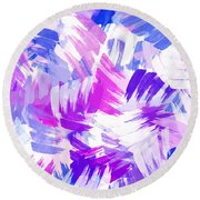 Purple Abstract Paint Pattern Round Beach Towel