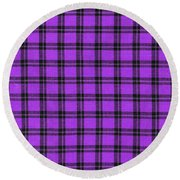 Purple And Black Plaid Textile Background Round Beach Towel