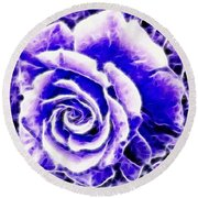 Purple And Blue Rose Expressive Brushstrokes Round Beach Towel
