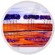 Purple And Blue Trees Abstract Round Beach Towel