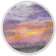 Purple And Gold November Sunset In West Michiganwatercolor Round Beach Towel