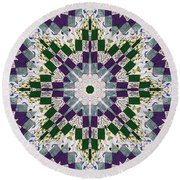 Purple And Green Patchwork Art Round Beach Towel