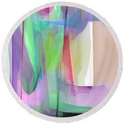 Purple And Green Round Beach Towel