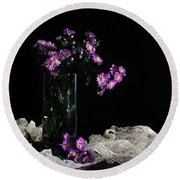 Purple And Lace Round Beach Towel