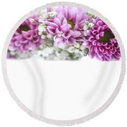 purple and mauve Flower frame on white  Round Beach Towel