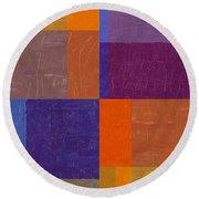 Purple And Orange Get Married Round Beach Towel by Michelle Calkins