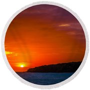 Purple And Orange Sunset Round Beach Towel