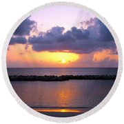 Purple And Pink Sunset Caribbean Dream Round Beach Towel