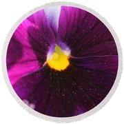 Purple And Pollen Round Beach Towel