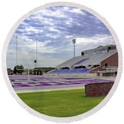 Purple And Silver Round Beach Towel
