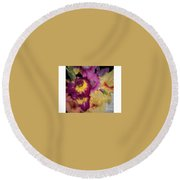 Purple And White Flowers Round Beach Towel