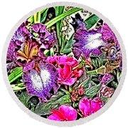 Purple And White Irises And Pink Flowers Round Beach Towel